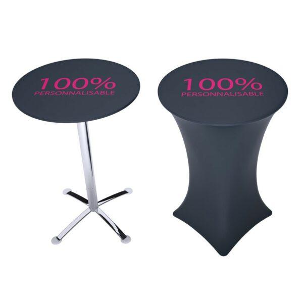 table mange debout avec housse personnalisée