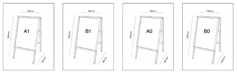 Dimensions des chevalets porte affiche