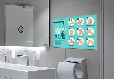 panneau consignes sanitaires : comment se laver les mains